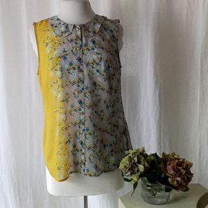 Cabi 50/50 yellow and taupe button tank sz M